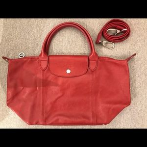 Red Longchamp leather bag in good condition